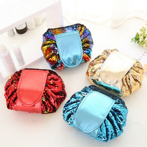 Cosmetic Bag Sequin Mermaid Organizer Travel Holder Makeup Drawstring Pouch Case