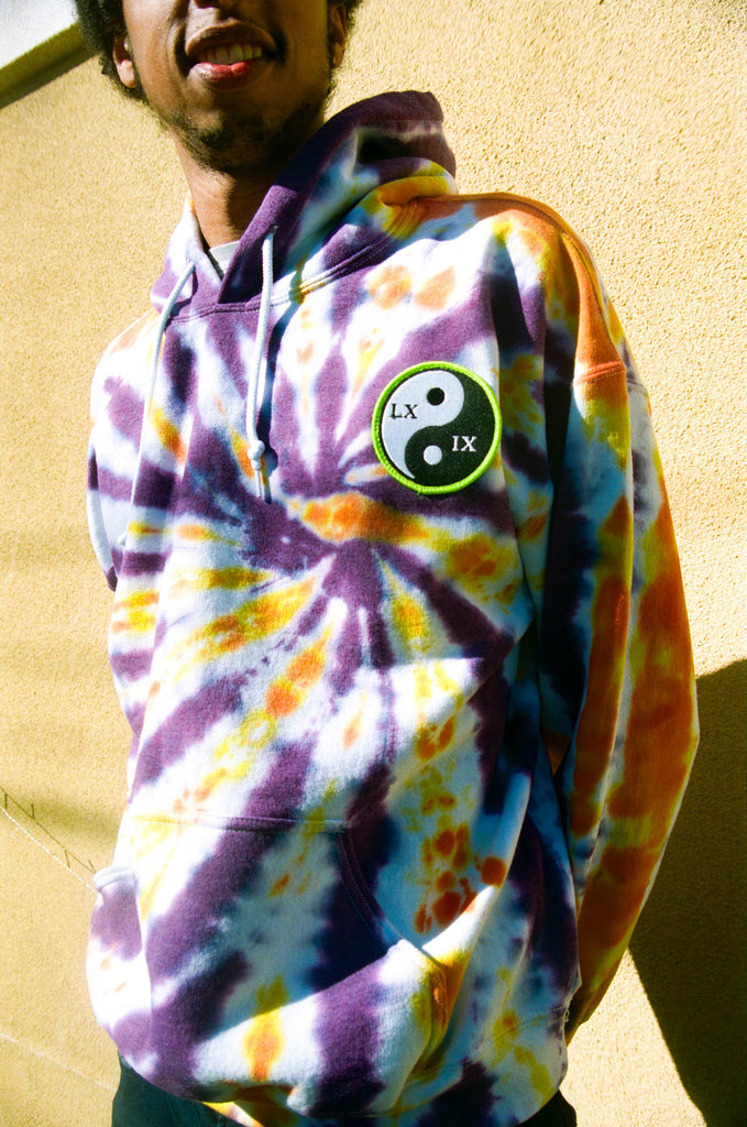 LXIX hoodie orange purple yellow swirl