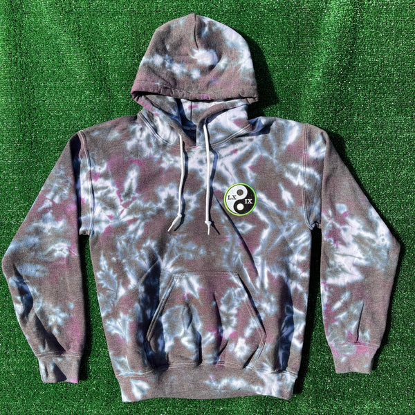 logo patch tie dye hoodie - small