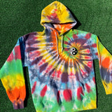 logo patch tie dye hoodie - medium