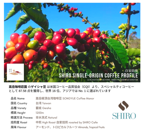 SHIRO Taiwan Geisha Single Origin Beans
