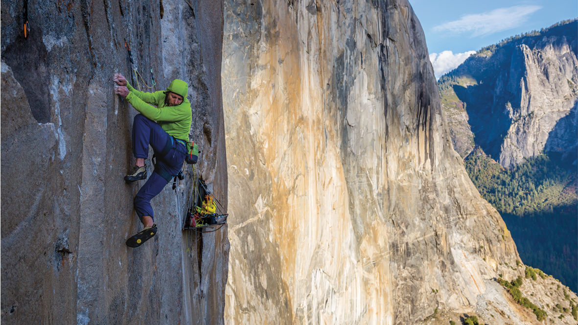 A shot of Tommy Caldwell climbing the Dawn Wall.