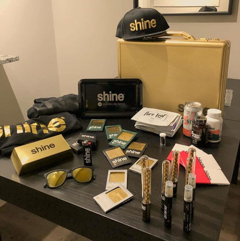 shine papers shine day gold briefcase