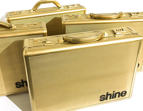 shine papers gold briefcase