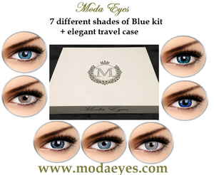 7 pair Blue Colored Contact lenses gift pack  (21 month wear) + lenses travel kit + drawstring bag.