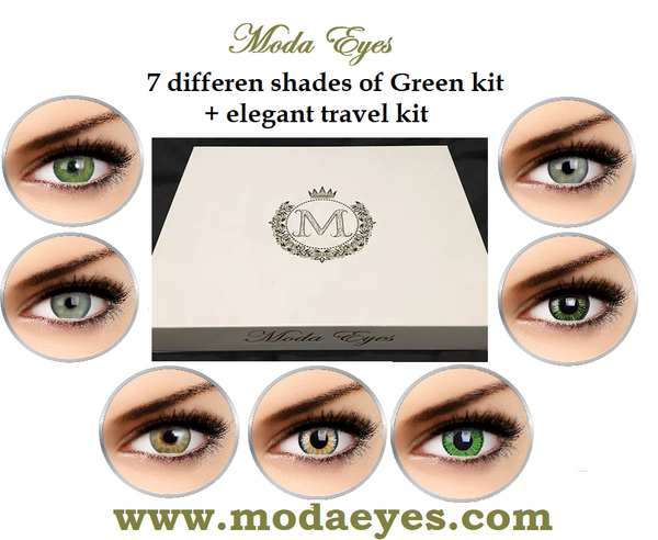 7 pair Green Colored Contact lenses gift pack(21 months use) + lenses travel kit + drawstring bag.