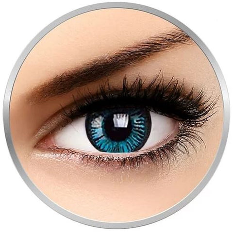 Big Eye Blue Beauty colorrf contact lenses 1 pr + lense case and drawstring bag