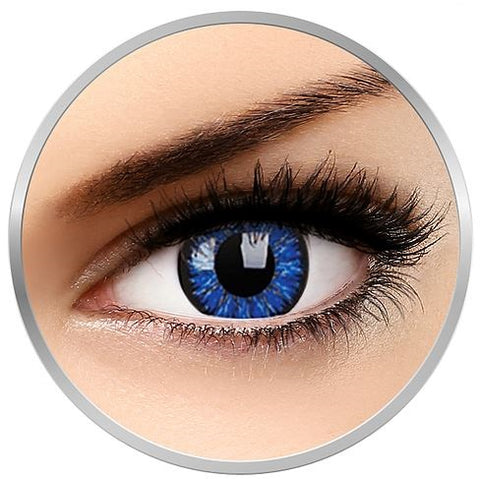 Blue Charm colored contact lenses 1 pair 3 month replacement + satin drawstring bag + lenses case