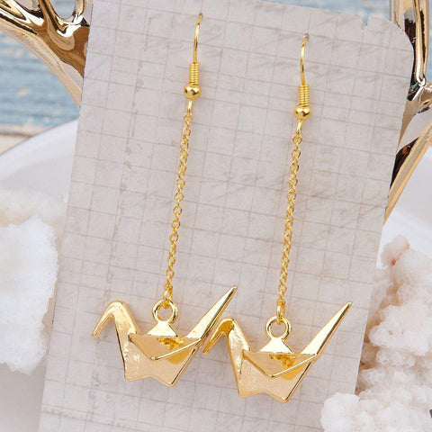 Cute and Kawaii Golden Origami Crane Earrings