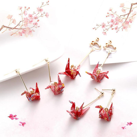 Kawaii Origami Crane Earrings