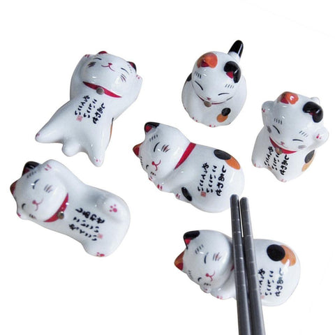 5Pcs Lucky Cat (Maneki Neko) Chopsticks Holder