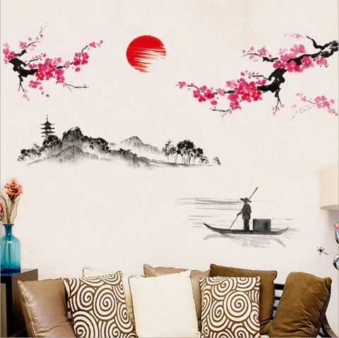 Watercolor Art Landscape Wall Stickers