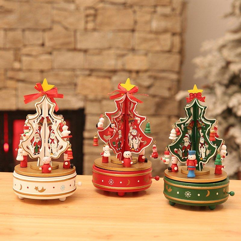 Christmas Tree Music Box Rotate Music Box DIY Clockwork Music Box Xmas Pattern Nice Christmas Gift