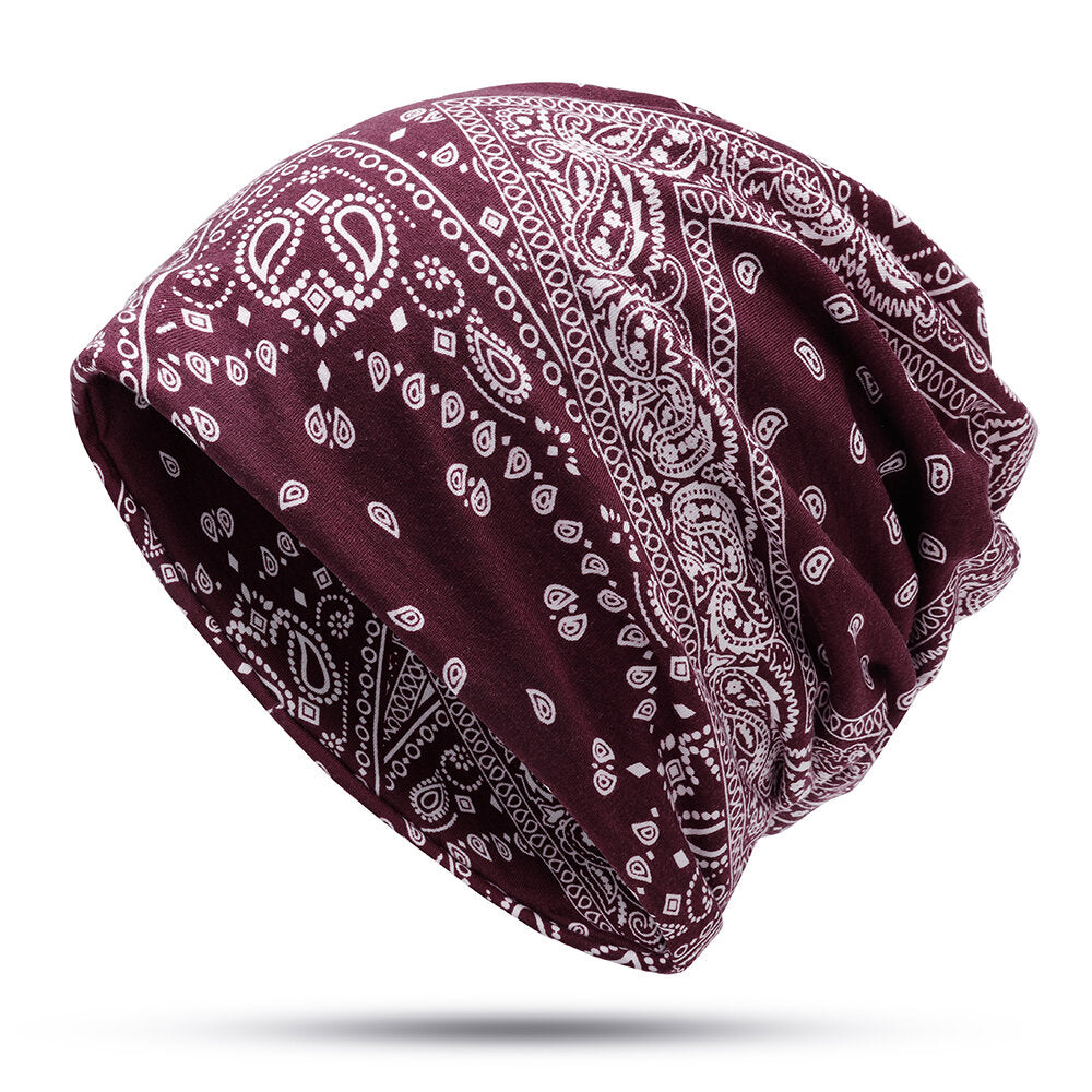 Cotton Printed Cashew Flower Bonnet Cap Casual Beanie Hats Outdoor Sun Cap Scarf Dual Use Hat
