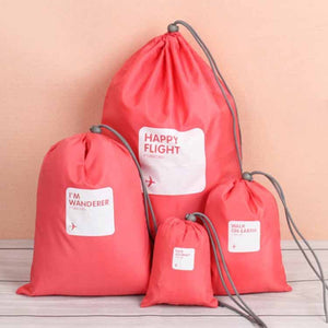 4Pcs Waterproof Nylon Drawstring Travel Storage Bag Portable Organizer Clothes Shoes Storage