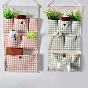 Stripe Lattice Hanging Organizer with Pockets Fabric Wall Door Storage Home Closet Organizing Bags