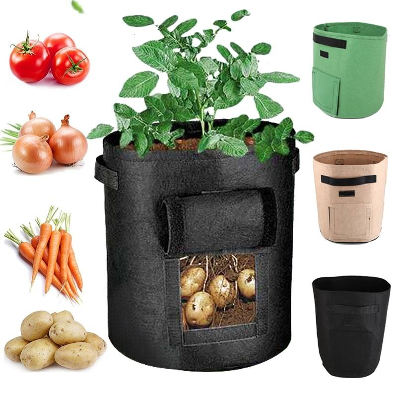 10/7 Gallon Potato Grow Bag Double Door Pot Nonwoven Environmentally Friendly Indoor Outdoor Plant B