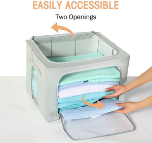 Storage Bags Stackable Storage Boxes/Containers, Durable Handles Solid Bottom with Metal Frame for Clothes