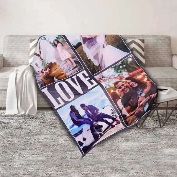 "Customized 4-Photo ""LOVE"" Cozy Plush Fleece Blanket"