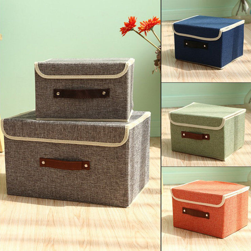 Cotton Linen Books Sundries Thickening Storage Box Collapsible Clothing Organizer