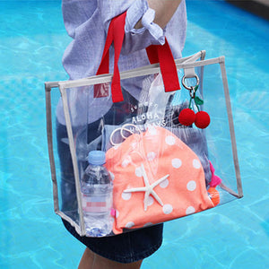 Transparent Jelly Beach PVC Handbag Large Capacity Shoulder Bag Waterproof Tote Swimsuit Collect Bag