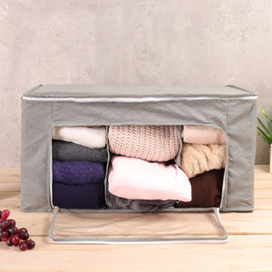 Transparent Clothes Quilts Storage Folding Organizer Bags Bamboo Container