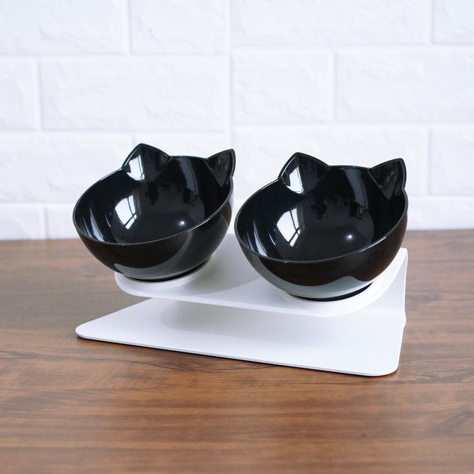Cat Double Cat Bowl with Raised Stand Pet Food Bowl Perfect for Cats and Small Dogs