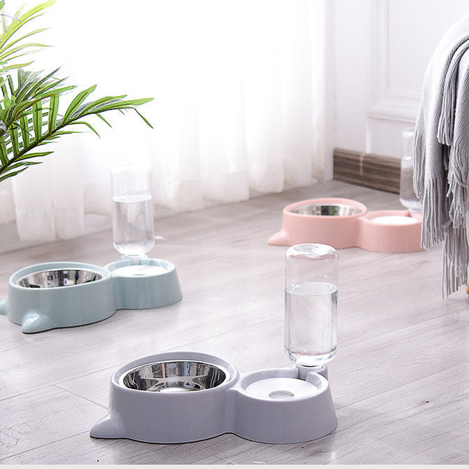 Cat Shaped Automatic Drinking Fountain Double Mouth Bowl for Cats And Dogs