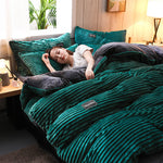 3/4 Pcs AB Sided Thicken Corduroy Velvet Winter Bedding Set Full Queen King Size Duvet Cover