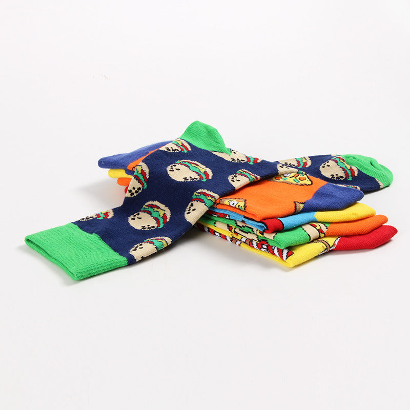 5 Styles Funky Cotton Socks Creative Fashion Trend for Men and Women