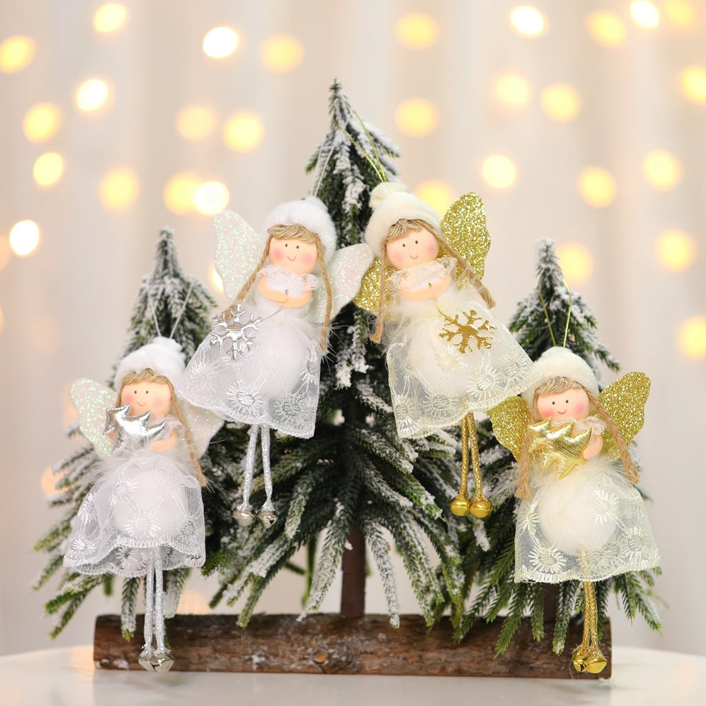 New Christmas tree creative decoration hanging Christmas decorations hanging Christmas lovely angel lace doll