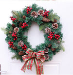 Red Berry,Pinecone & Green Wreath With Tartan Ribbon Detail --55cm