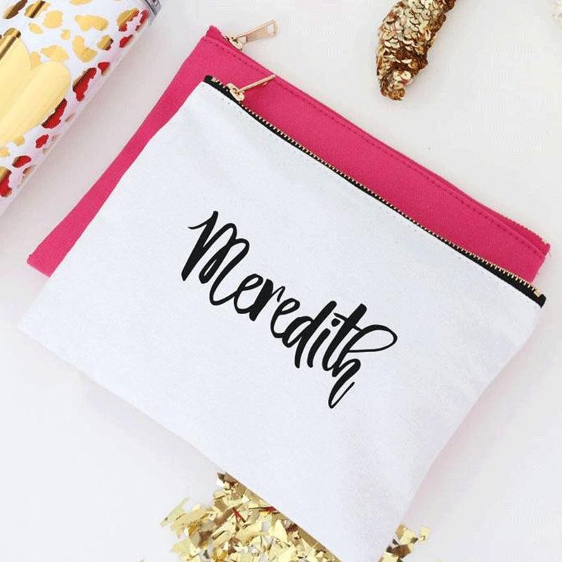 Cosmetic Bag Personalized,Personalized Monogram Makeup Bag Bride Makeup Bag, Multi Color,Bridesmaid Gift, Bridal Gift, Tote Bag, Bridal Shower Gift