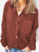Corduroy Solid Color Long Sleeve Lapel Casual Shirt For Women