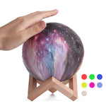 New 3D Printing Moon Lamp Space LED Night Light Remote Control USB Charge Valentine Gift