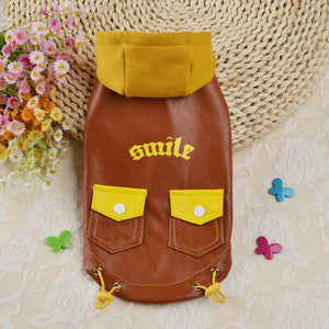 Pet Clothes Autumn Winter Pocket Leather Cothes Warm Dog Clothes