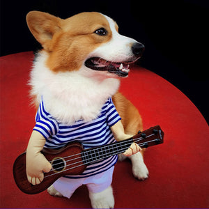 Small Large Pet Dog Costumes Guitar Player Coats Clothes Party Cosplay
