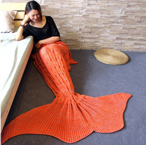 Knitted Braid Mermaid Tail Blanket For Adult
