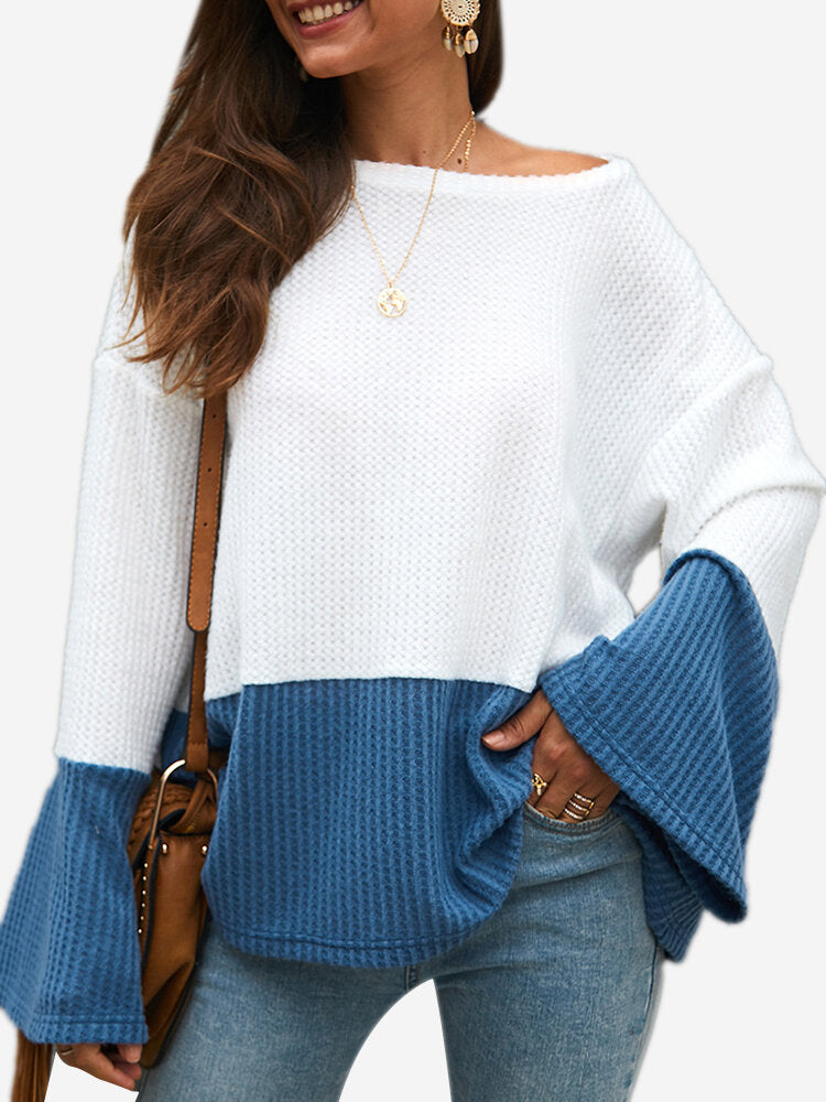 Contrast Color O-neck Patchwork Long Sleeve Sweater For Women