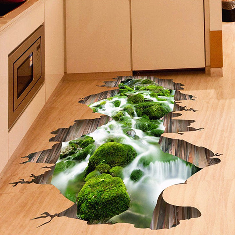 3D Floor Decor Stream Bathroom Wall Sticker Removable Art Home Decoration