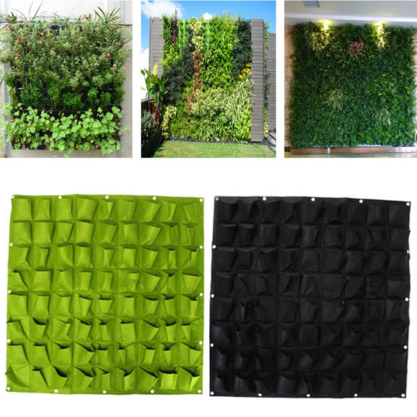 72 Pockets Wall Haning Felt Planter Bags Garden Indoor Outdoor Plant Growing Bag
