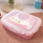 Microwave Lunch Box With A Spoon Cute Dinnerware School Office Ourdoor Picnic