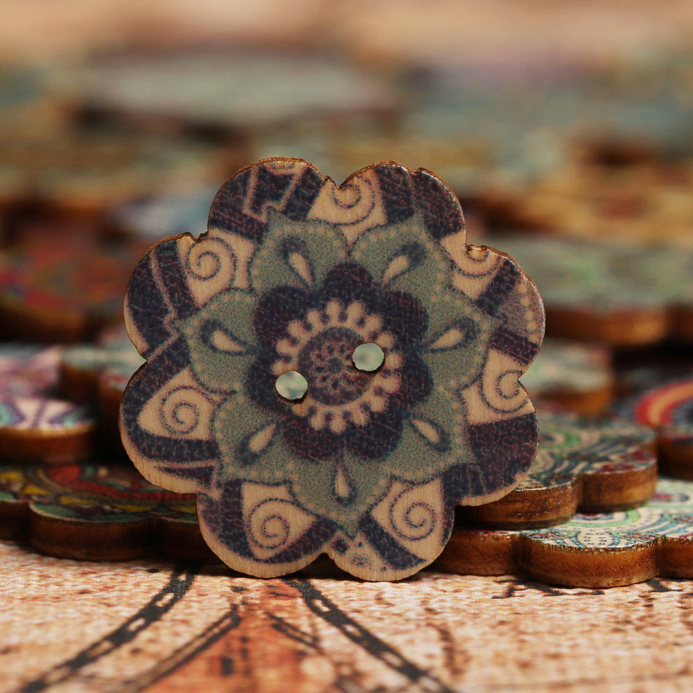 100 Pcs Wooden Decoration Sewing Buttons Washable Creative Knitting Sewing DIY Materials Two Size