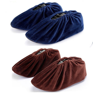 2 Pcs Washable Non-Slip Shoe Covers Elasticity Dustproof Boot Flannel Overshoes