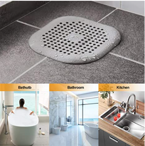 Square Drain Cover for Shower Silicone Hair Stopper with Suction Cup