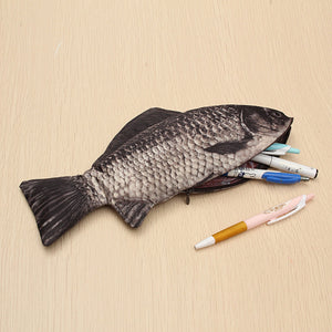 Silver Carp Real Fish Like Pencil Case Makeup Pouch With Zipper Funny Gift