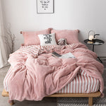 4Pcs Thicken Warm Plush Bedding Set Lattice Striped Style Bedding Extra King Duvet Cover Pillowcases