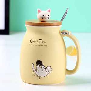 500ml Ceramic Coffee Mug Lovely Cat Pattern Water Cup With Lid