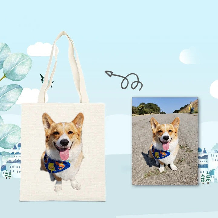 Take Me with You ! Custom Pet Photo Tote Bag Multifunctional ECO Bag