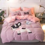4Pcs Shearling Bedding Set Cartoon Elk Elephant Bull Dinosaur Rabbit Quilt Duvet Cover Bed Sheet